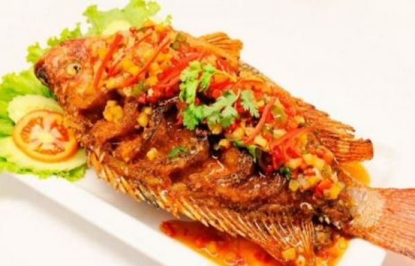 Deep fried Red Tilapia fish with sweet chili sauce
